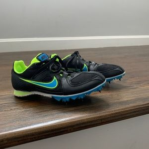 Nike Boys Black Blue Spike Track Run Shoes 468648
